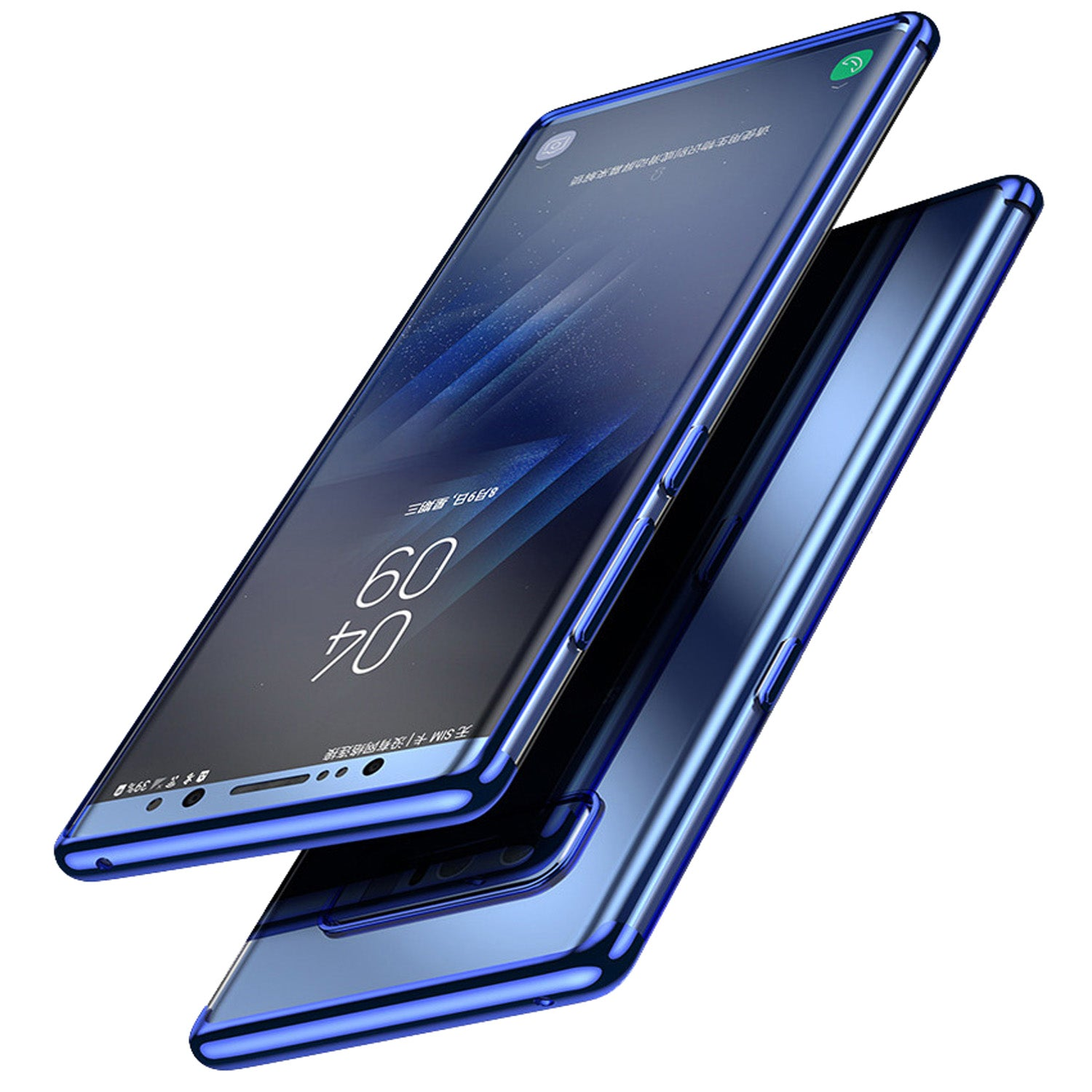 Chrome Plated Transparent Flexible Protective Case Cover for Samsung Galaxy Note 8 - Blue - Mobizang