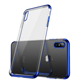 Chrome Plated Transparent Flexible Protective Case Cover for Apple iPhone X - Blue - Mobizang