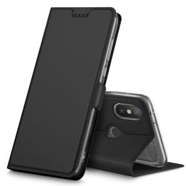 Noble Slim Magnetic & Card Holder Stand Leather Flip Case Cover for Xiaomi Mi A2 - Black - Mobizang