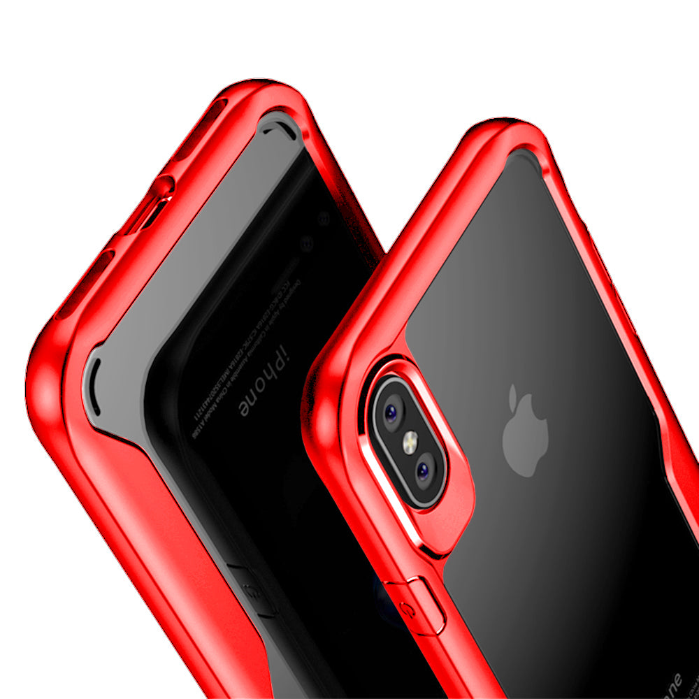 Shock Proof Armor Acrylic Transparent Back Case Cover for Apple iPhone X - Red - Mobizang