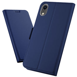 Noble Slim Magnetic & Card Holder Stand Leather Flip Case Cover for Apple iPhone XR - Blue - Mobizang