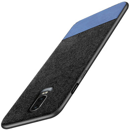 Fabric + Leather Hybrid Protective Case Cover for Oneplus 6T -  Black , Blue - Mobizang