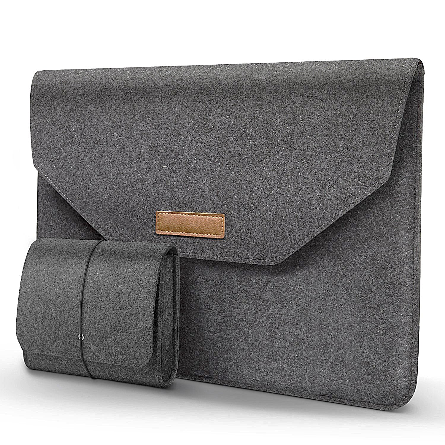 Basics Felt Sleeve with Storage Pouch for Apple 15 MacBook Pro / 15 MacBook Pro with Retina and Most Popular 15-15.5 Inch Macbooks/Laptops/Notebooks - Mobizang