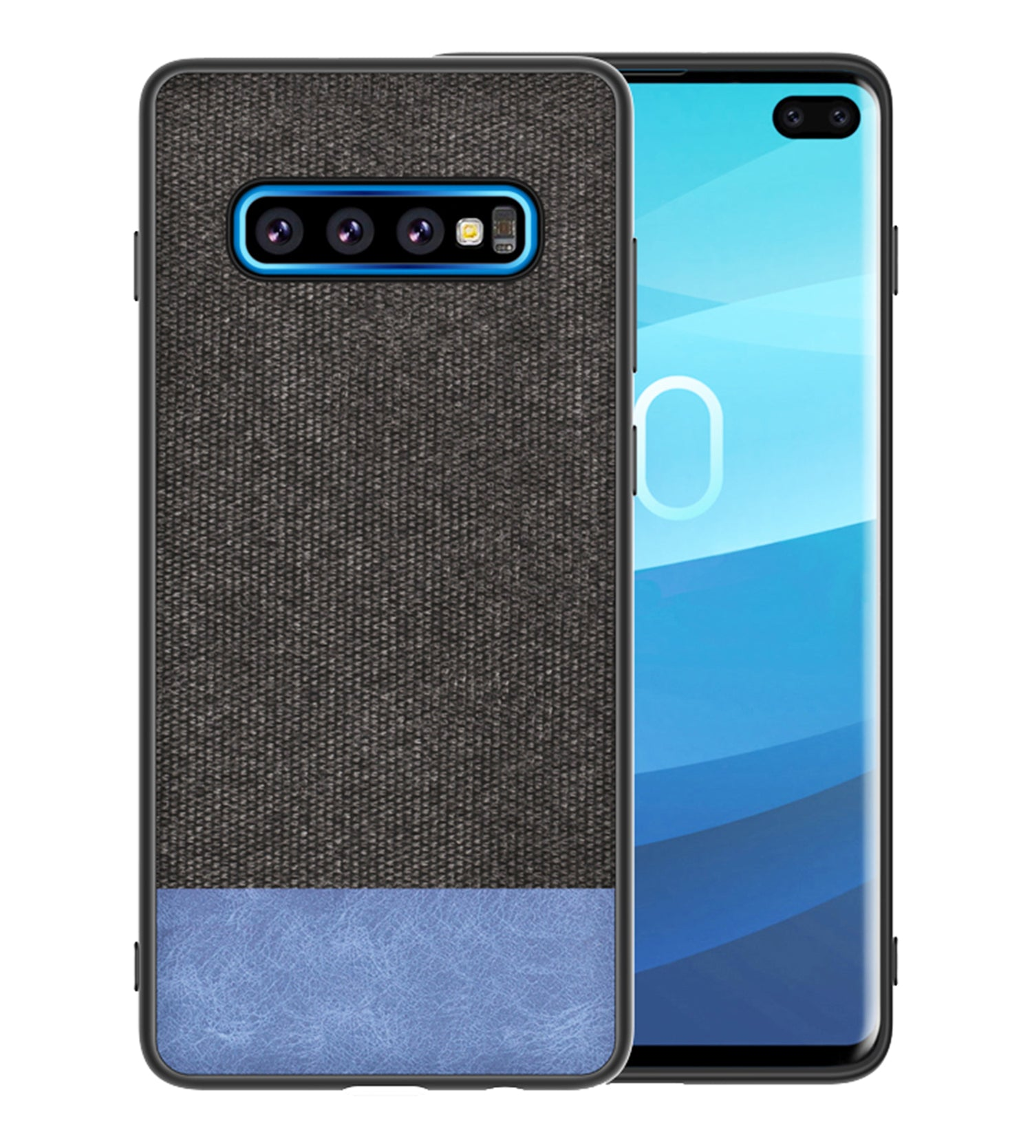 Fabric + Leather Hybrid Premium Protective Cases Cover for Samsung Galaxy S10 - Mobizang
