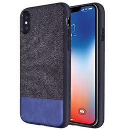 Fabric + Leather Hybrid Protective Case Cover for Apple iPhone X  -  Black , Blue - Mobizang