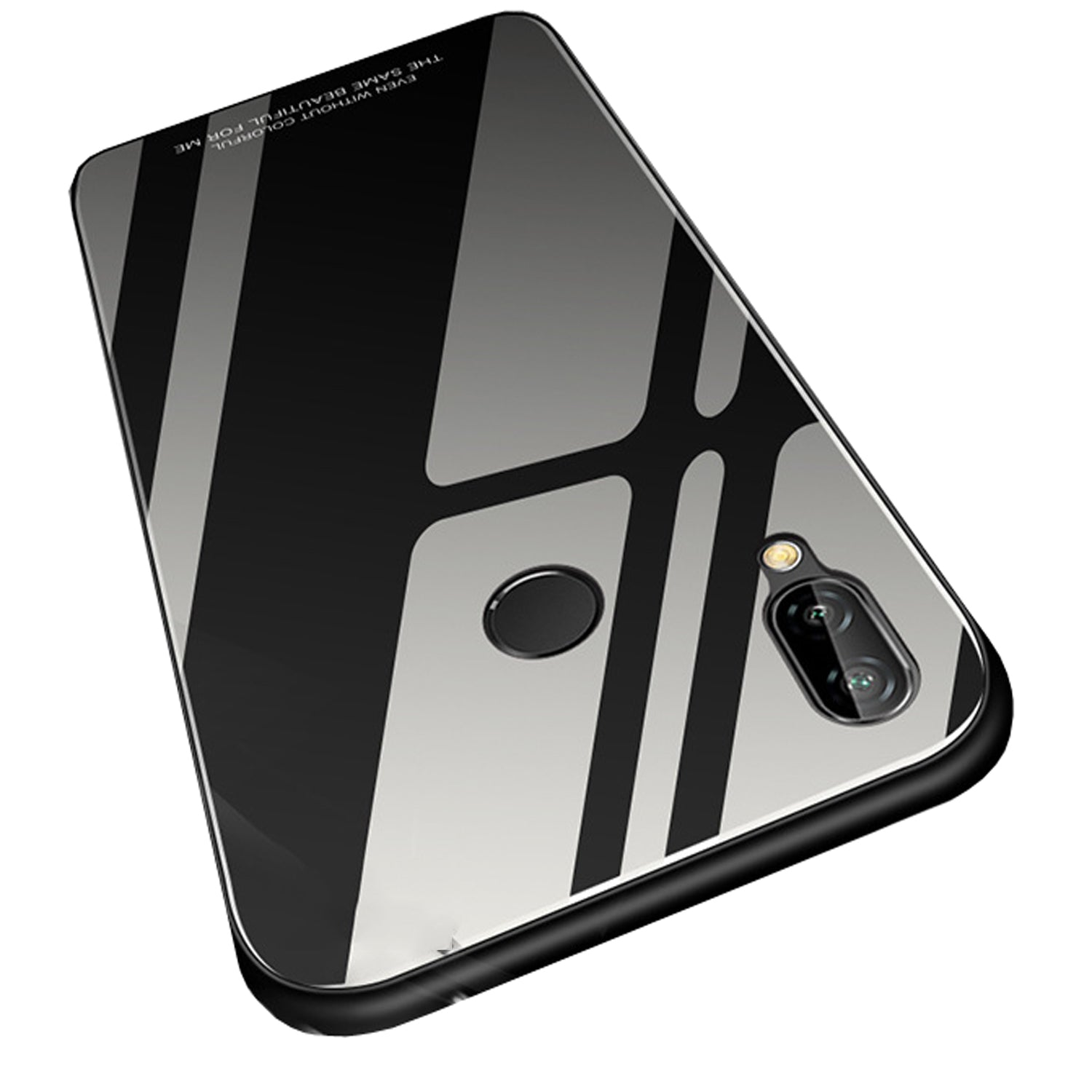 Toughened Glass Back Shock Proof Slim Case Cover for Huawei P20 Lite - Black - Mobizang