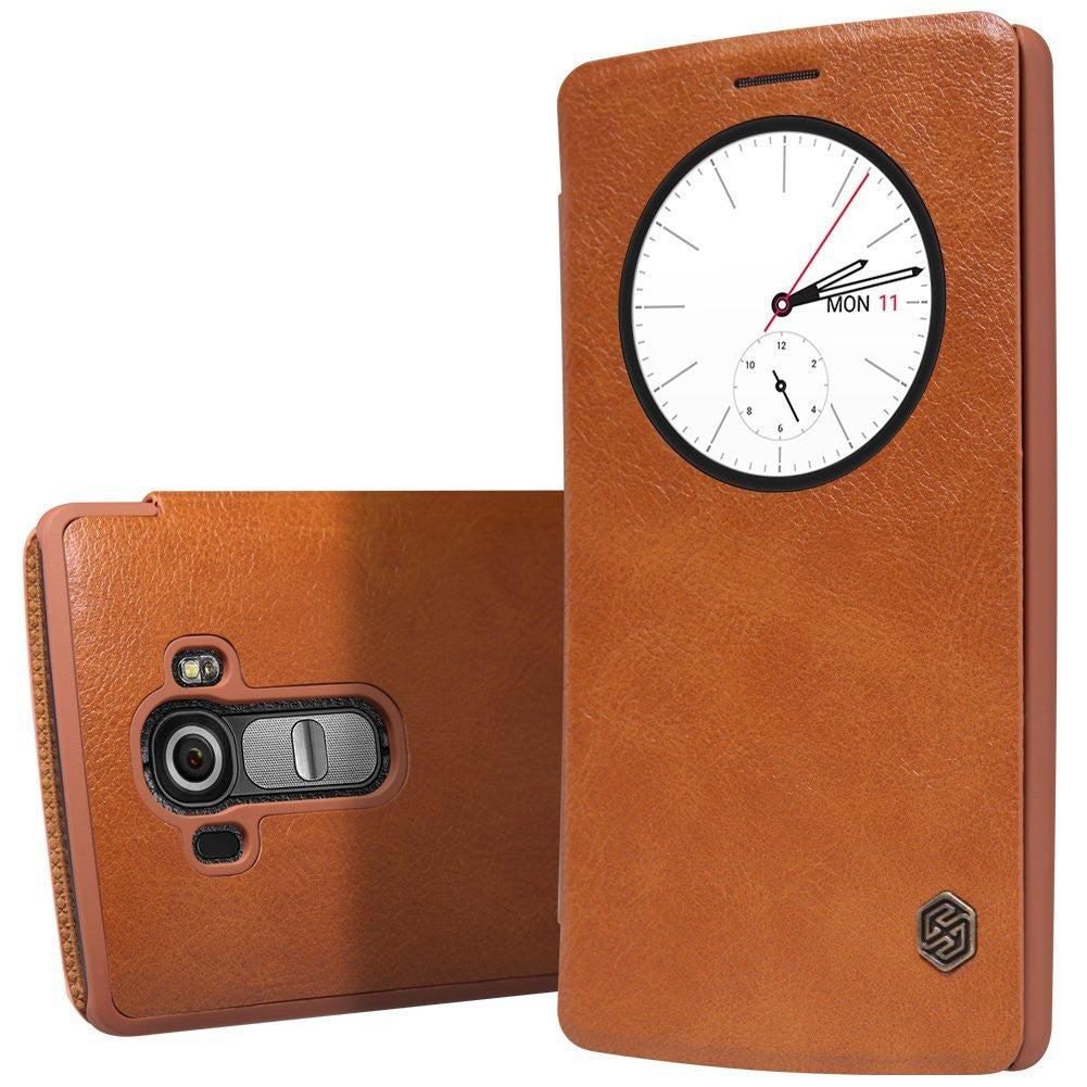 Nillkin Qin Series Quickcircle Leather Window Flip Case Cover for LG G4 - Brown - Mobizang