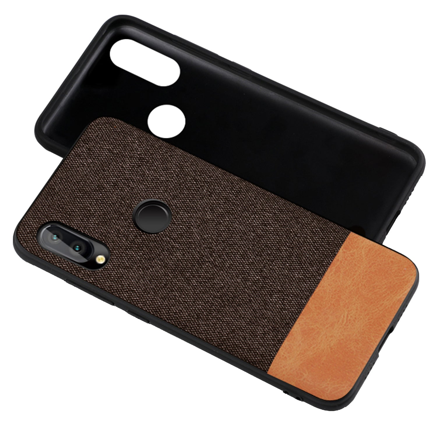 Fabric + Leather Hybrid Protective Case Cover for Huawei P20 LITE - Brown - Mobizang