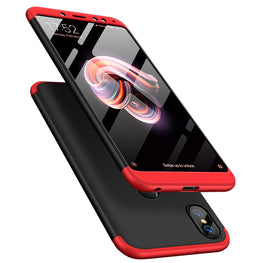 3 in 1 - 360° Full Protection Body Case Cover for Xiaomi Redmi Note 5 PRO - Black , Red - Mobizang
