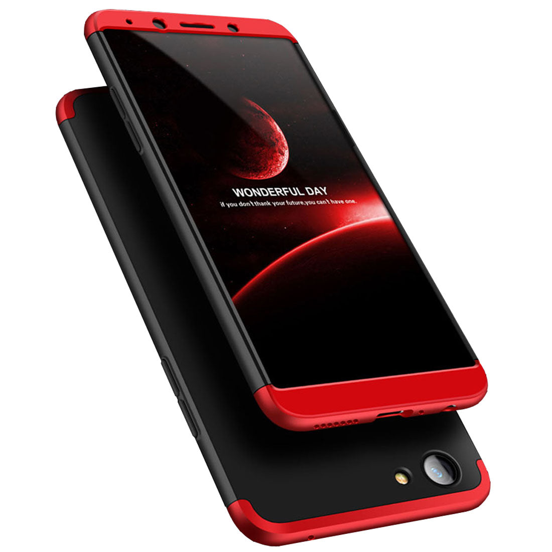3 in 1 - 360° Full Protection Body Case Cover for Oppo F5 / F5 Youth  - Red / Black - Mobizang
