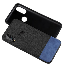 Fabric + Leather Hybrid Protective Case Cover for Huawei P20 LITE - Black , Blue - Mobizang