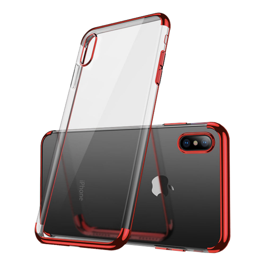 Chrome Plated Transparent Flexible Protective Case Cover for Apple iPhone X - Red - Mobizang