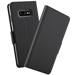 Noble Slim Magnetic & Card Holder Stand Leather Flip Case Cover for Samsung Galaxy S10 Plus - Black - Mobizang