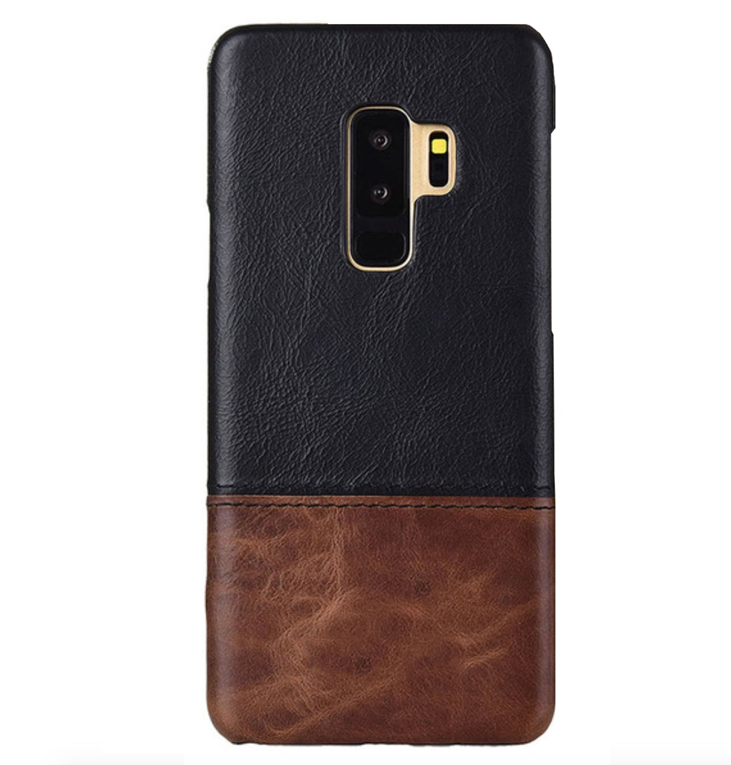 Genuine Leather Dual Color Hand Stitched Protective Case Cover for Samsung Galaxy S9+ (PLUS) - Black , Brown - Mobizang