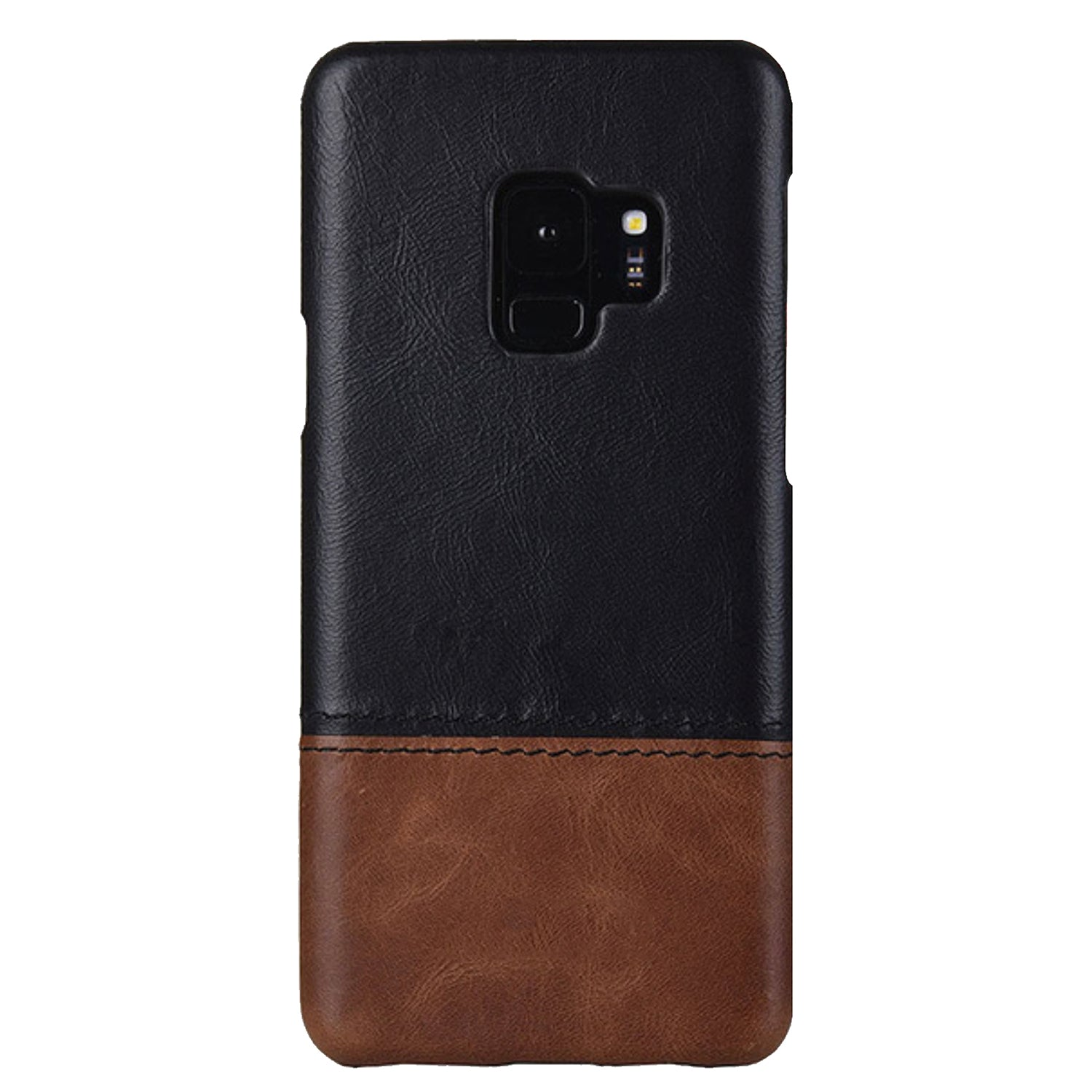 Genuine Leather Dual Color Hand Stitched Premium Protective Case Cover for Samsung Galaxy S9 - Black , Brown - Mobizang