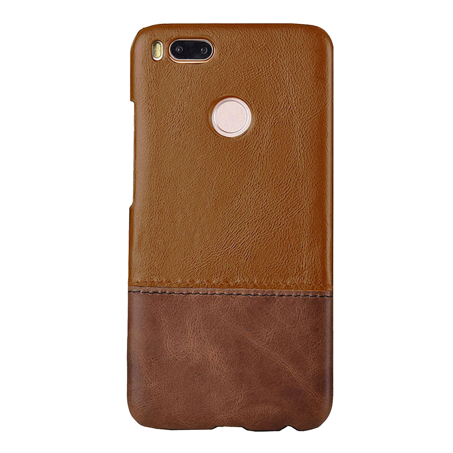 Genuine Leather Dual Color Premium Protective Case Cover for Xiaomi Mi A1 - Brown - Mobizang