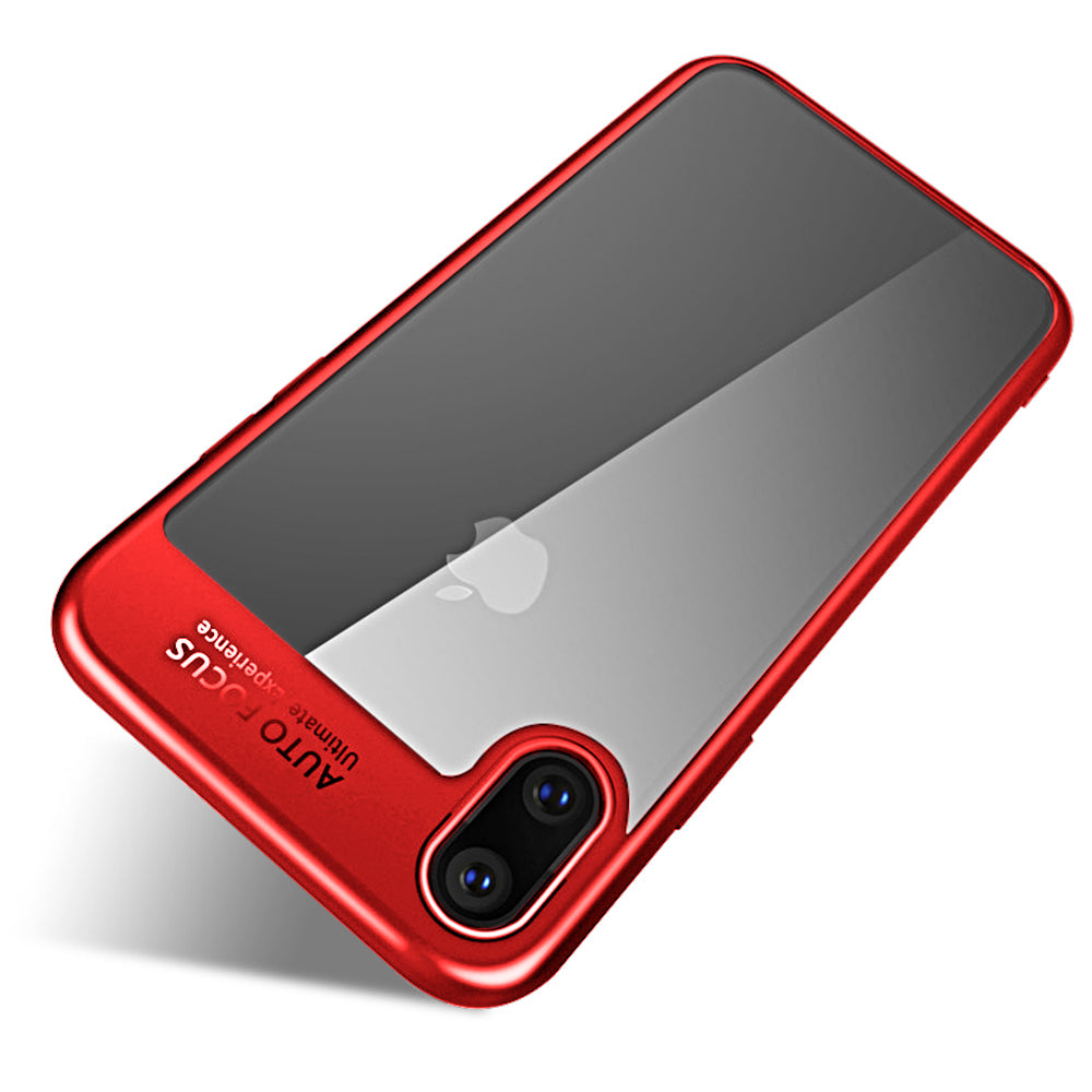 Clear Back Complete Lens Protector Case Cover for Apple iPhone X - Red - Mobizang