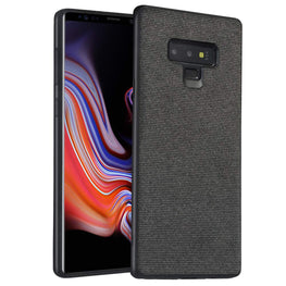 Fabric Hybrid Protective Case Cover for Samsung Galaxy Note 9 - Black - Mobizang