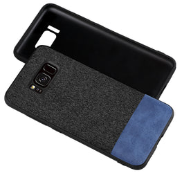 Fabric + Leather Hybrid Protective Case Cover for Samsung Galaxy S8+ (PLUS) -  Black , Blue - Mobizang