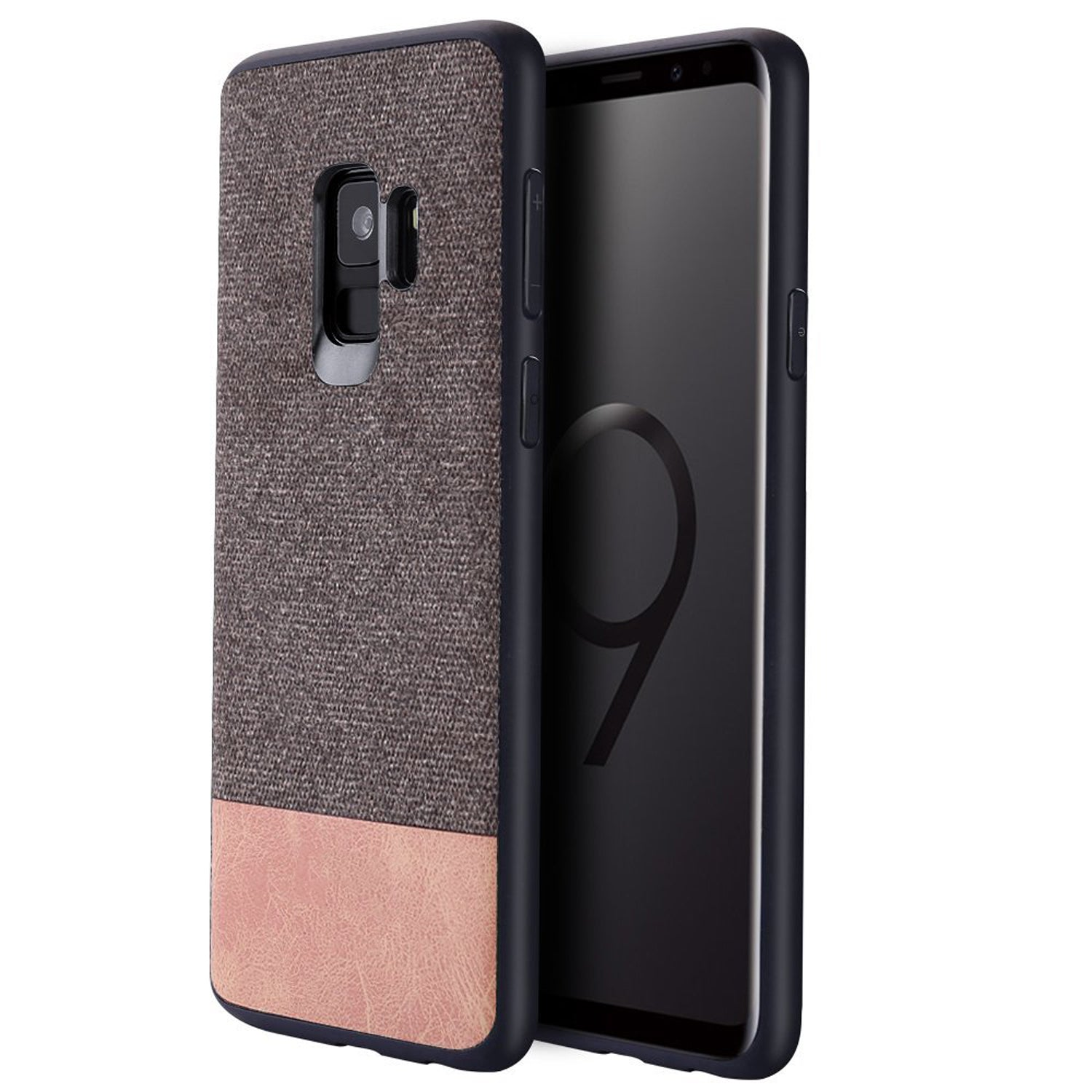 Full Fabric + Leather Hybrid Protective Case Cover for Samsung Galaxy S9 -  Brown - Mobizang