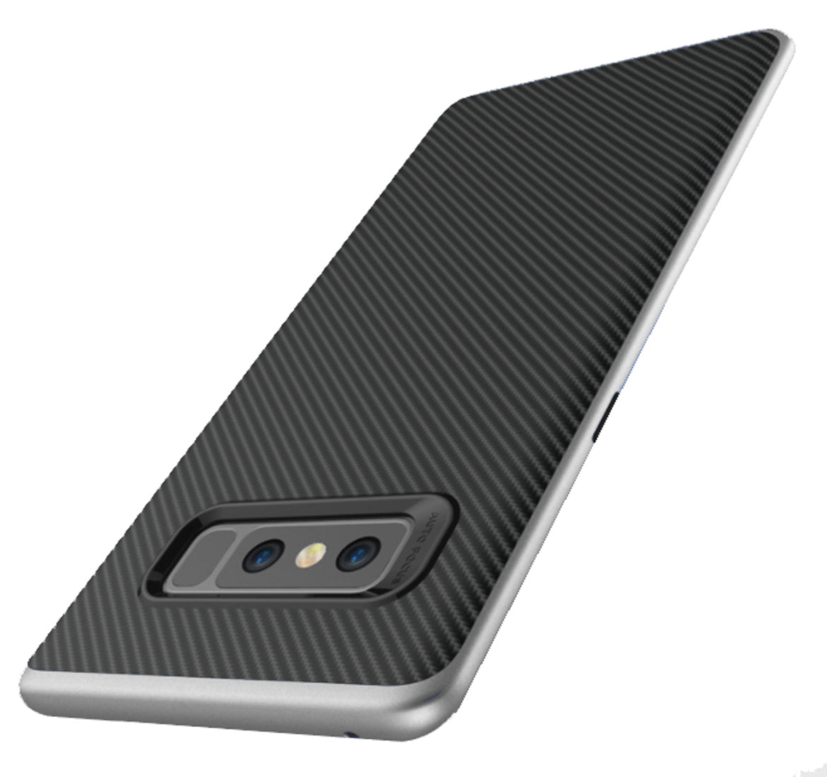 Hornet-II Ultra Thin Carbon Finish Shockproof Back + Bumper Case Cover for Samsung Galaxy Note 8 - Silver - Mobizang