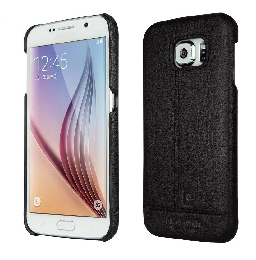 Pierre Cardin Luxury Leather Back Case Cover for Samsung Galaxy S6 Edge - Black - Mobizang