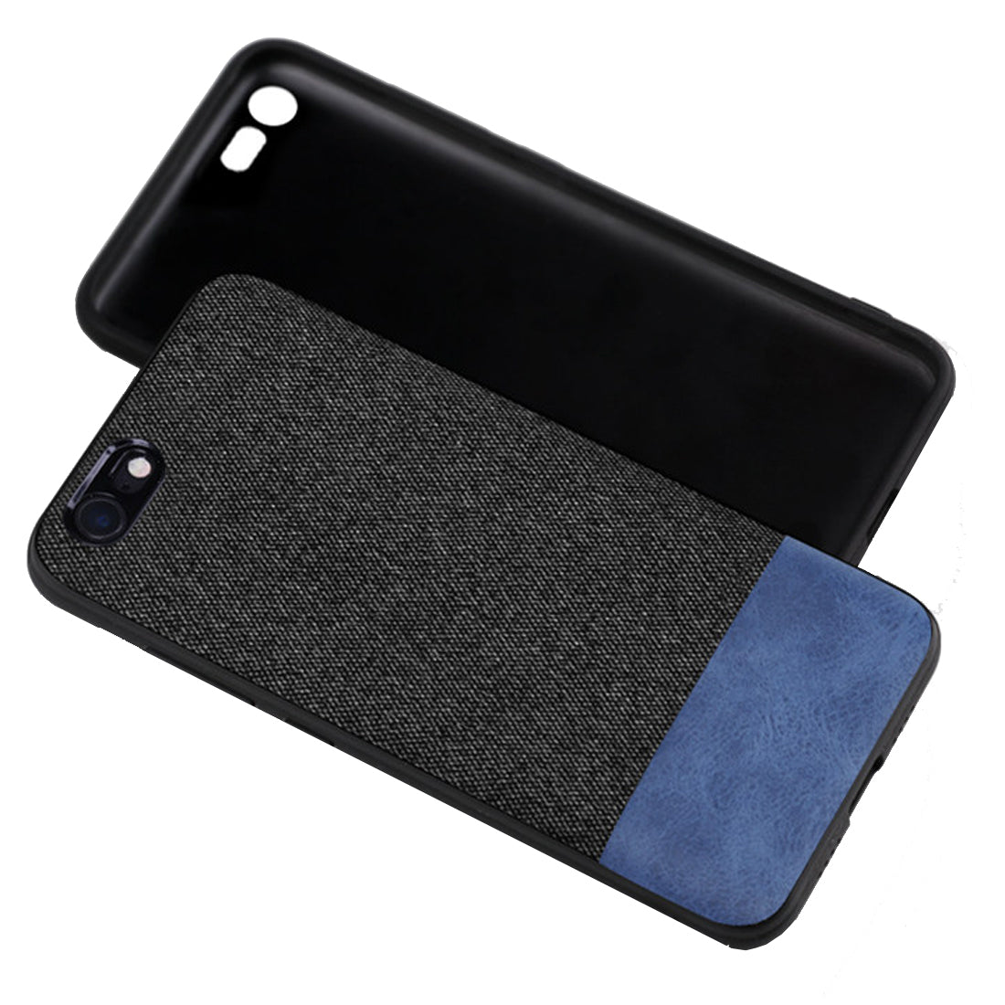 Fabric + Leather Hybrid Protective Case Cover for Apple iPhone 7 / iPhone 8 -  Black , Blue - Mobizang