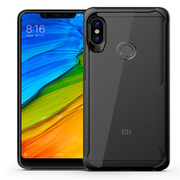 Shock Proof Armor Acrylic Transparent Back Case Cover for Xiaomi Redmi Note 6 PRO - Black - Mobizang