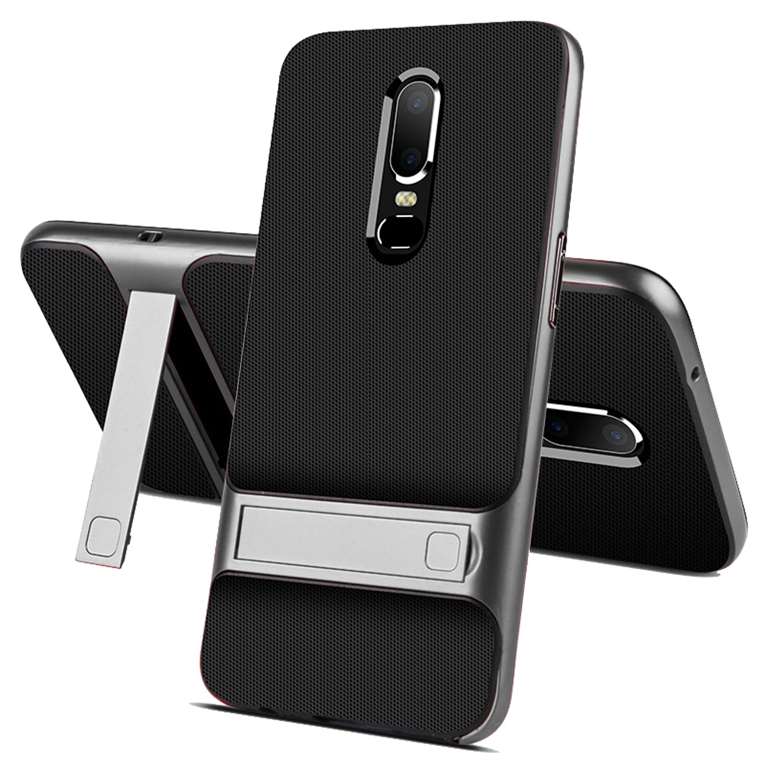 Shock Proof Stand Back Case Cover for Oneplus 6 - Grey - Mobizang