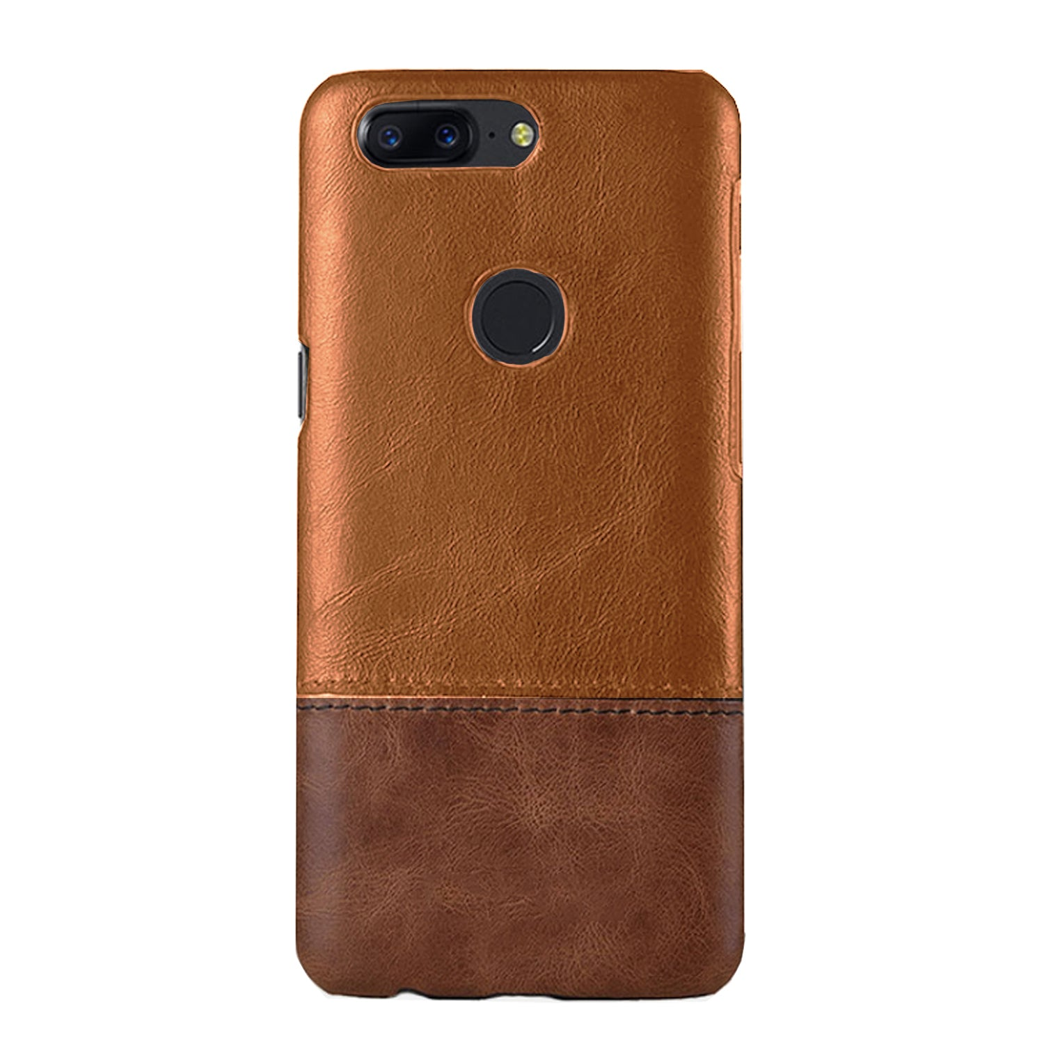 Genuine Leather Dual Color Premium Protective Case Cover for Oneplus 5T - Brown - Mobizang