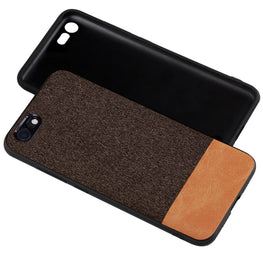 Fabric + Leather Hybrid Protective Case Cover for Apple iPhone 7 / iPhone 8 -  Brown - Mobizang