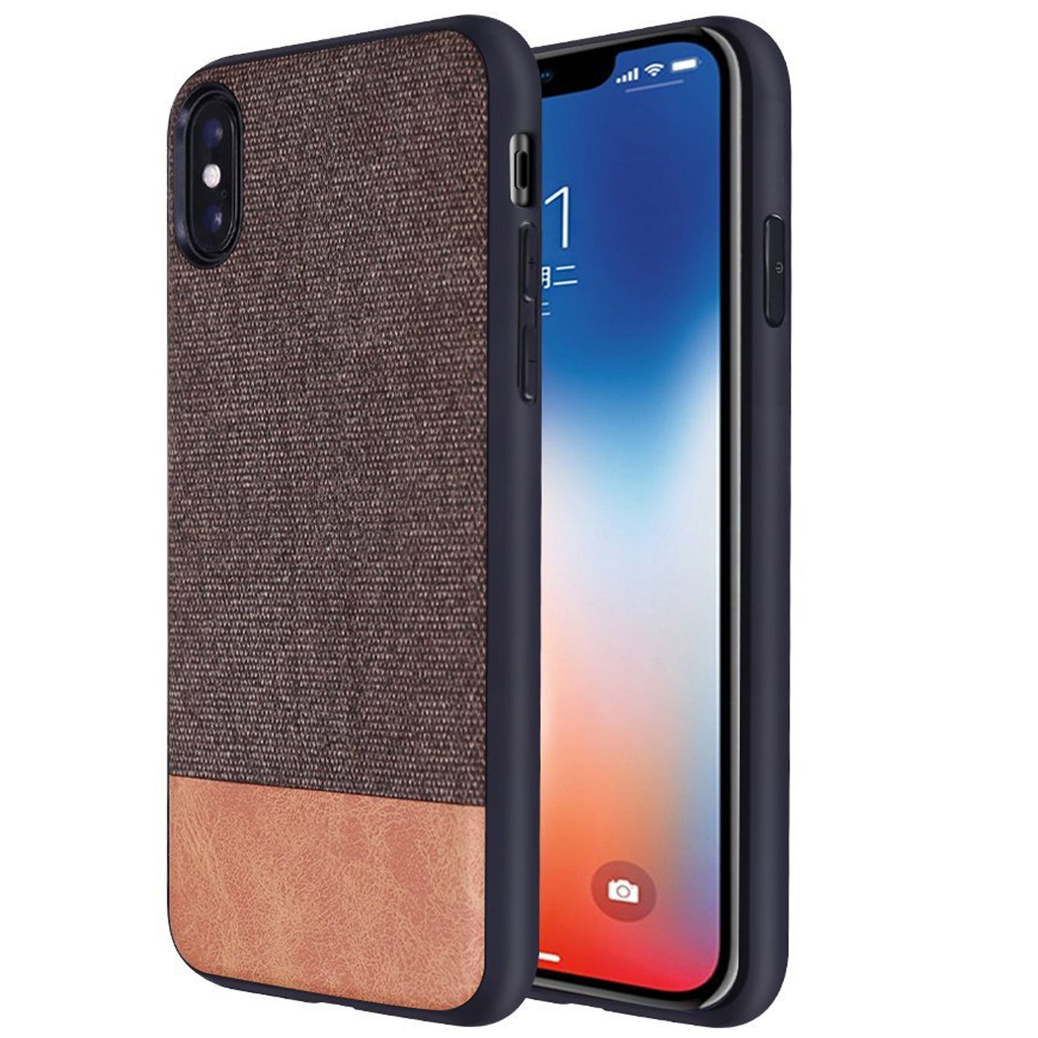 Fabric + Leather Hybrid Protective Case Cover for Apple iPhone X  -  Brown - Mobizang