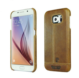 Pierre Cardin Luxury Leather Back Case Cover for Samsung Galaxy S6 Edge - Brown - Mobizang