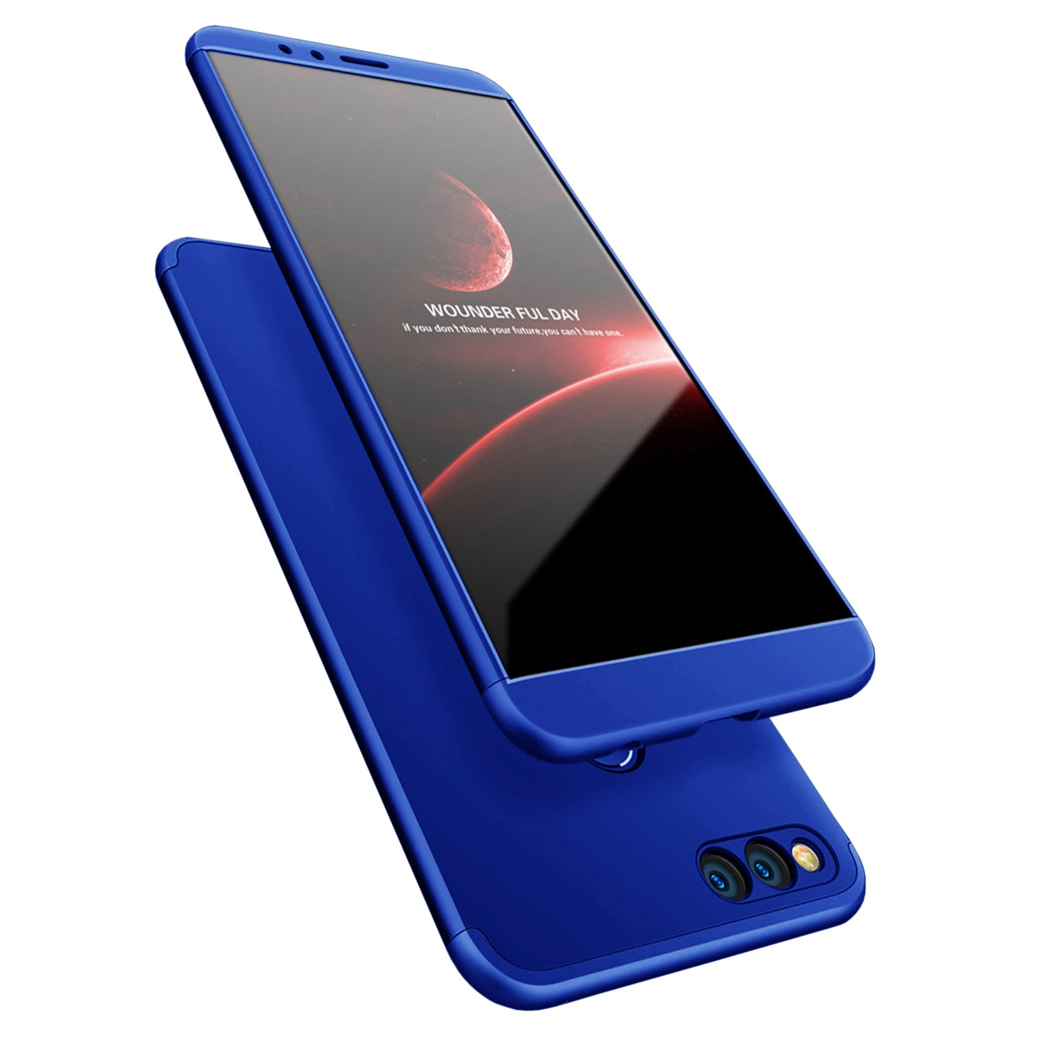 3 in 1 - 360° Full Protection Body Case Cover for Huawei Honor 7X - Blue - Mobizang