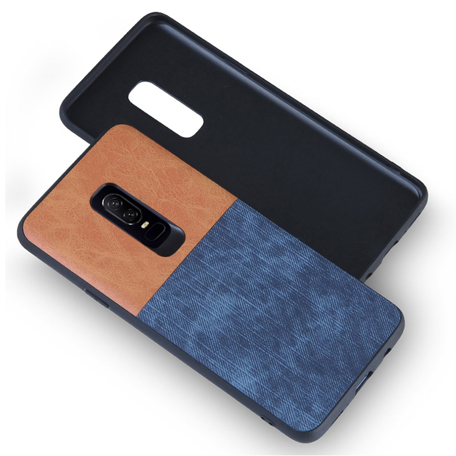 Soft Denim & Leather Hybrid Protective Back Case Cover for OnePlus 6/One Plus 6 - Brown/Blue - Mobizang