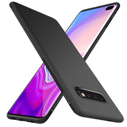 Twill Shock Proof Soft Flexible Back Case Cover for Samsung Galaxy S10 - Black - Mobizang