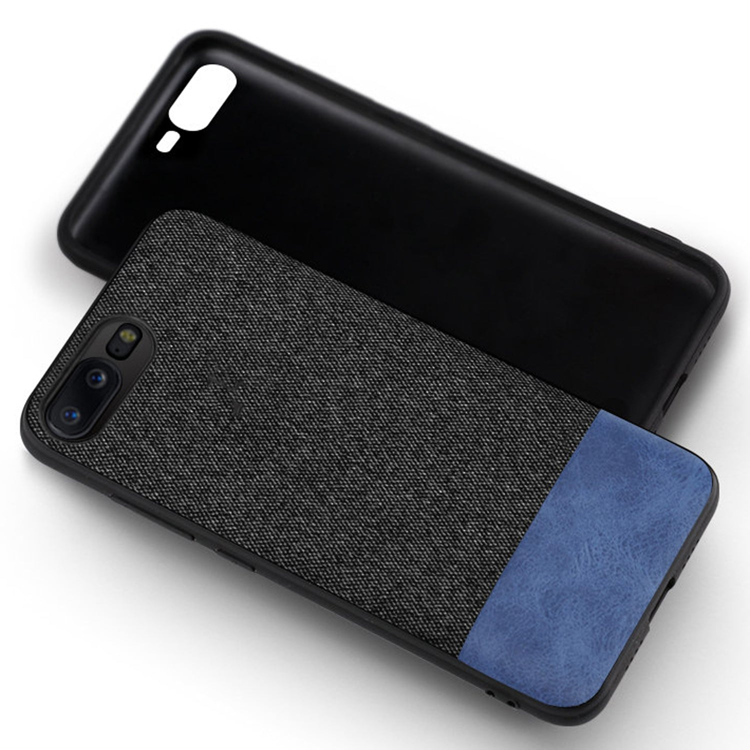 Fabric + Leather Hybrid Protective Case Cover for Oneplus 5 -  Black , Blue - Mobizang