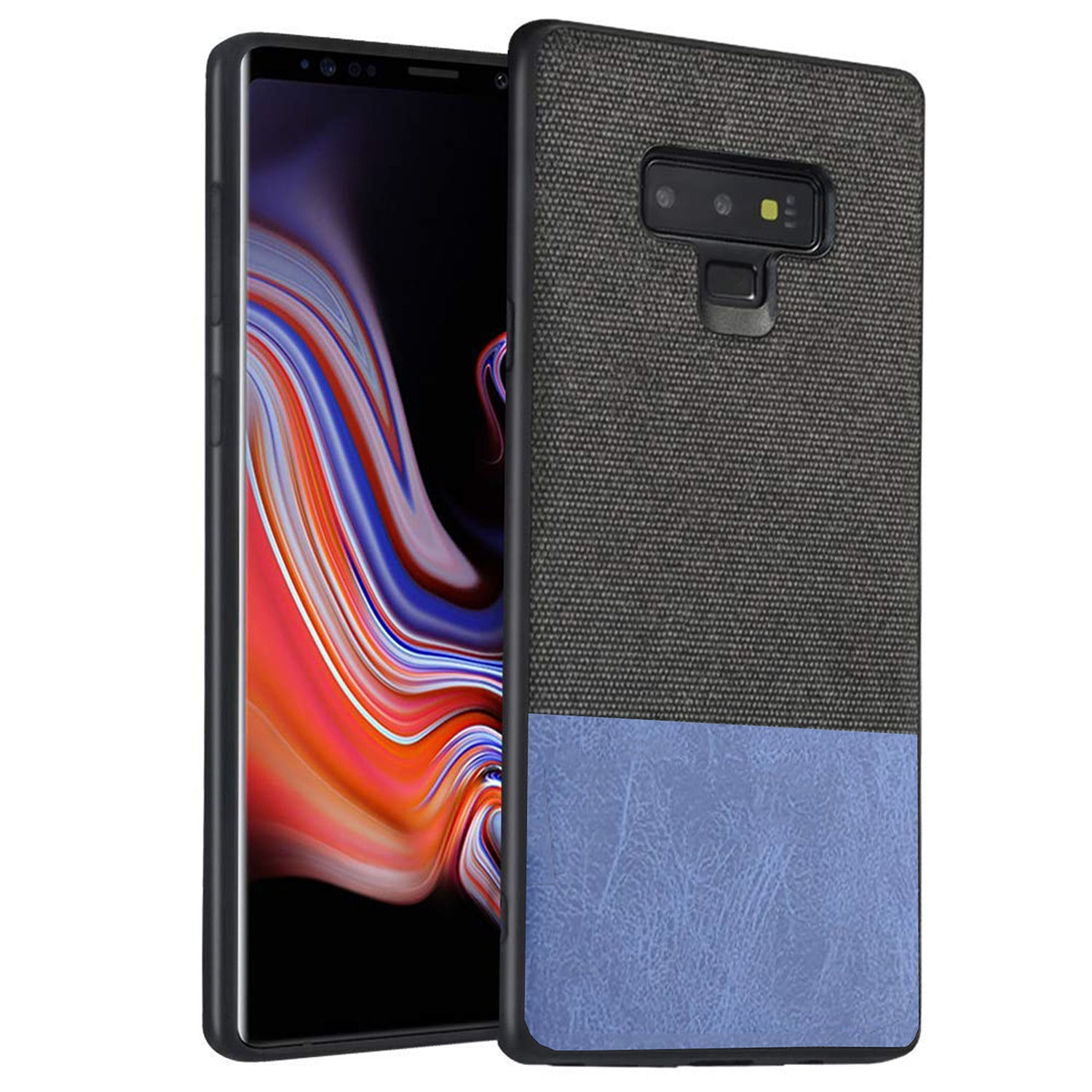 Fabric + Leather Hybrid Protective Case Cover for Samsung Galaxy Note 9 -  Black , Blue - Mobizang