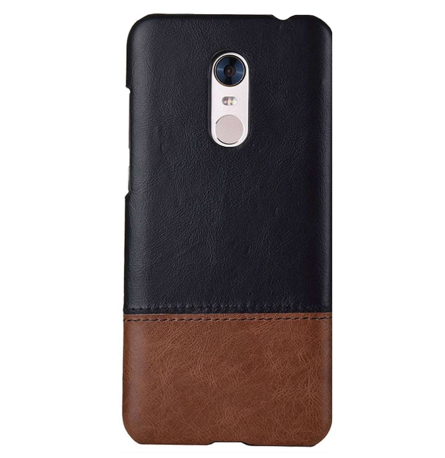 Genuine Leather Dual Color Hand Stitched Premium Protective Case Cover for Xiaomi Redmi Note 5 - Black , Brown - Mobizang