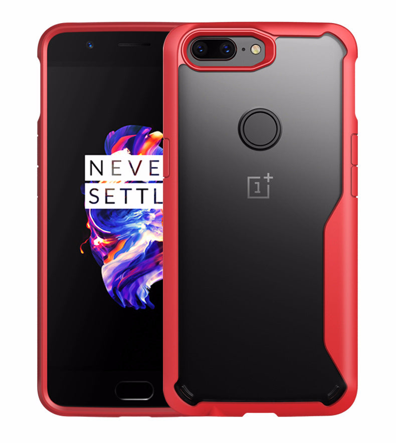 Shock Proof Armor Acrylic Transparent Back Case Cover for Oneplus 5T / One plus 5T - RED - Mobizang
