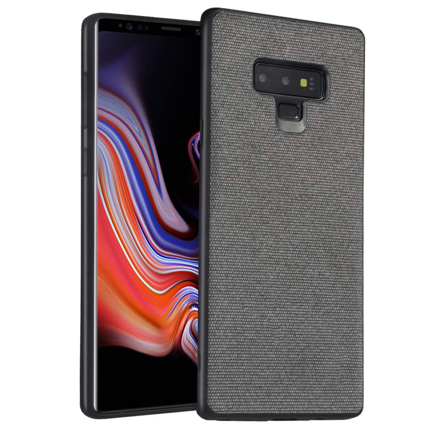 Fabric Hybrid Protective Case Cover for Samsung Galaxy Note 9 - Grey - Mobizang