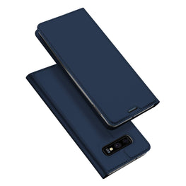 Ulta Slim Magnetic Closure PU Leather Stand Back Case Cover [with Inbuilt Card Slot] for Samsung Galaxy S10e - Blue - Mobizang