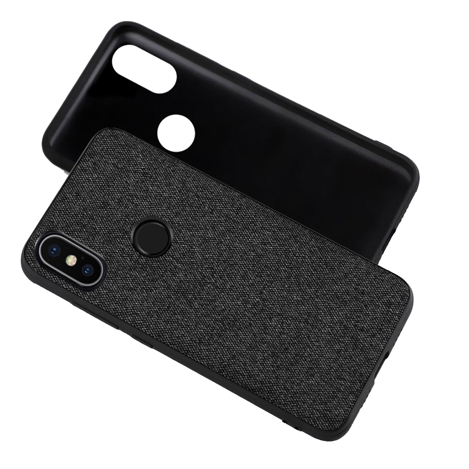 Fabric Hybrid Protective Case Cover for Xiaomi Redmi Note 5 PRO  -  Black - Mobizang