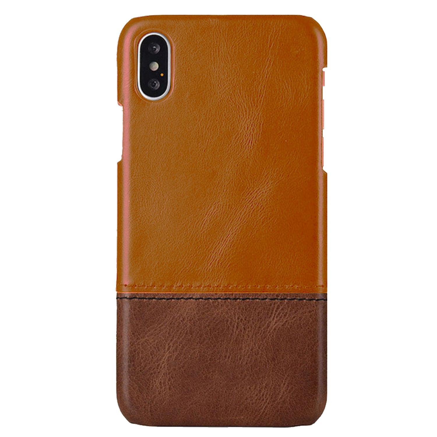 Genuine Leather Dual Color Hand Stitched Premium Protective Case Cover for Apple iPhone X - Brown - Mobizang