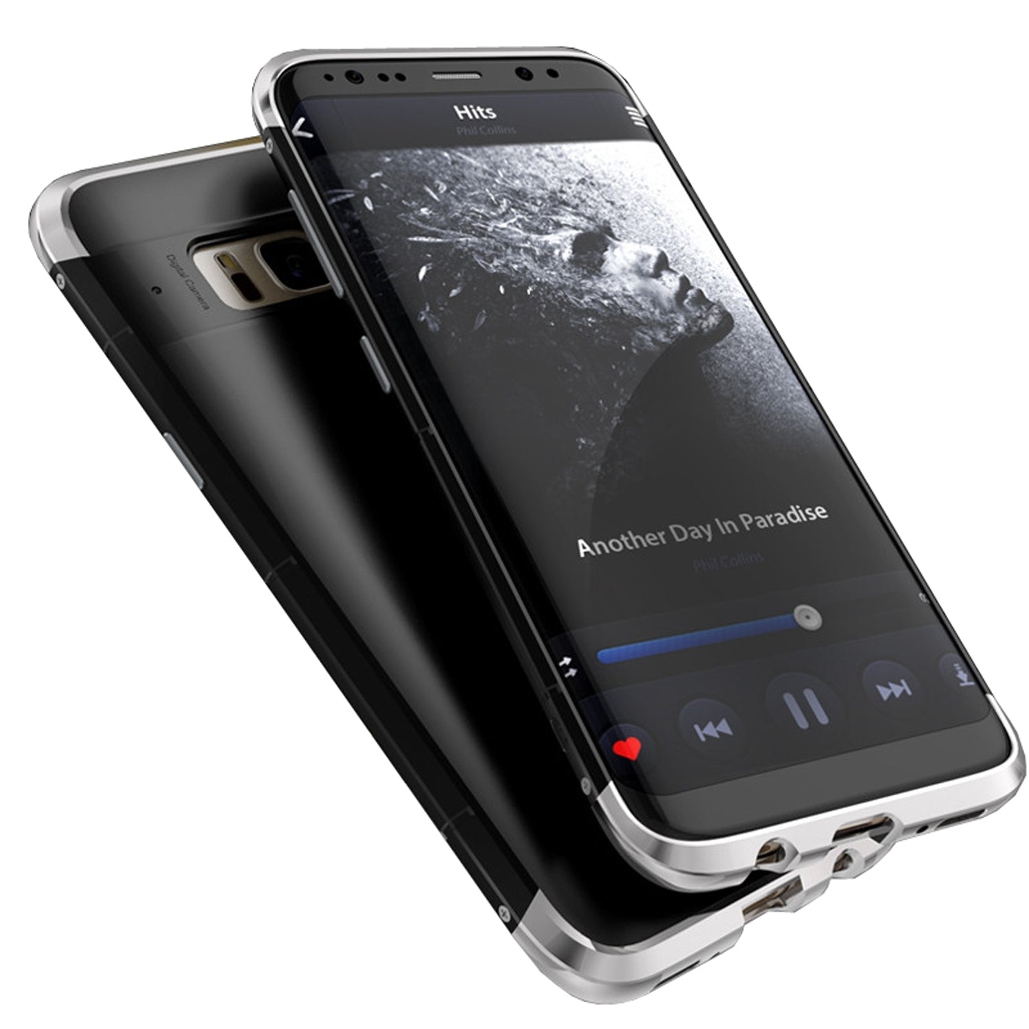 Aluminium Metal Frame PC Hard Back Shock Proof Case Cover for Samsung Galaxy S8+ (Plus) - Black, Silver - Mobizang