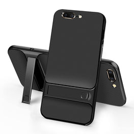 Shock Proof Dual Layer [Inbuilt Stand ] Back Case Cover for OnePlus 5 / One Plus 5 - Black - Mobizang
