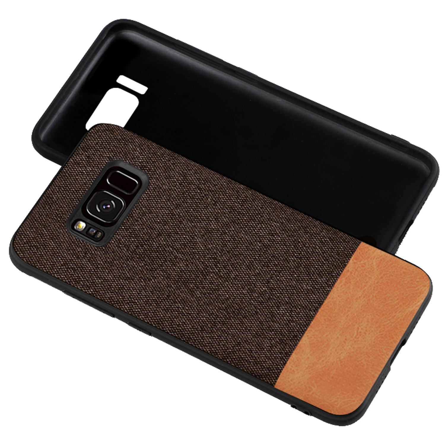 Fabric + Leather Hybrid Protective Case Cover for Samsung Galaxy S8+ (PLUS) -  Brown - Mobizang