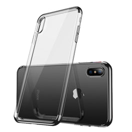 Chrome Plated Transparent Flexible Protective Case Cover for Apple iPhone X - Black - Mobizang