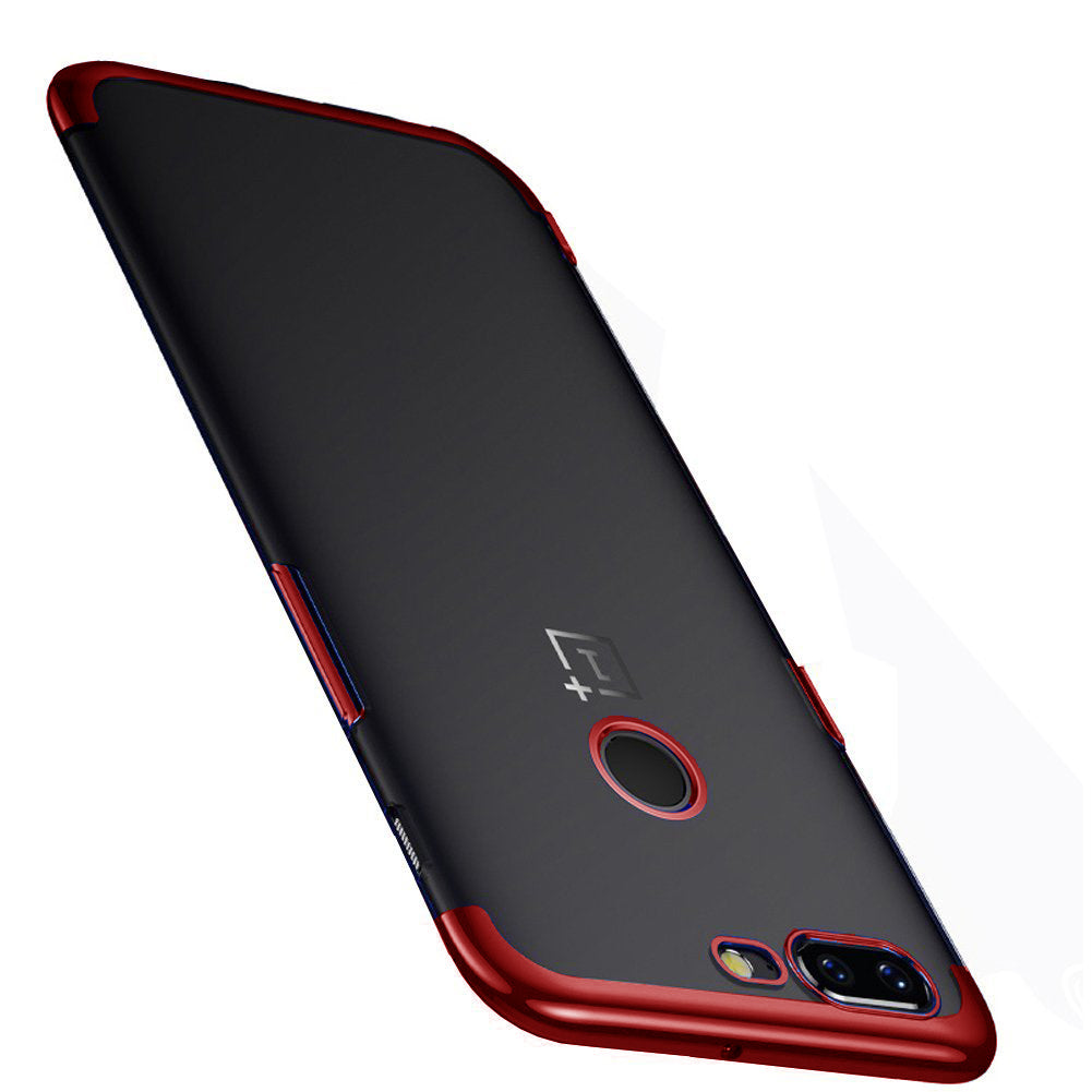 Chrome Plated Transparent Flexible Protective Case Cover for Oneplus 5T - Red - Mobizang