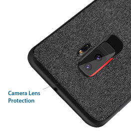 Fabric Hybrid Protective Case Cover for Samsung Galaxy S9+ (PLUS) - Black - Mobizang